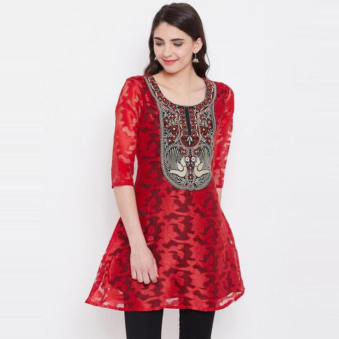 Aask - Red Colored Casual Wear Embroidered Netted Kurti