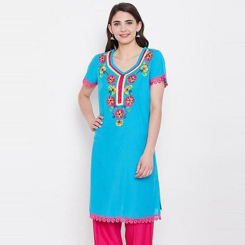 Aask - Turquoise Blue Colored Casual Wear Cotton Embroidered Kurti
