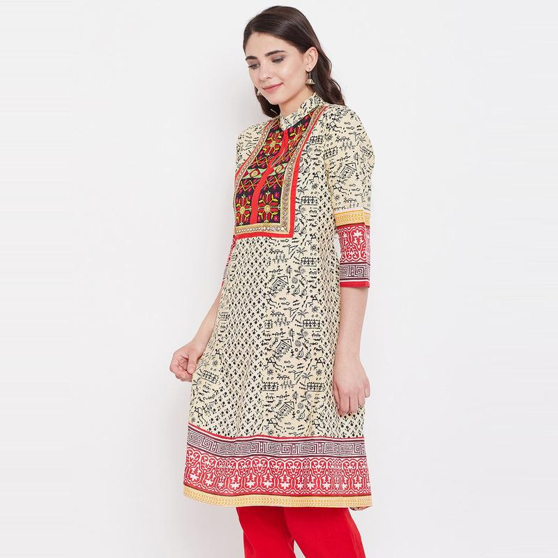 Aask - Beige Colored Casual Wear Embroidered Cotton Kurti