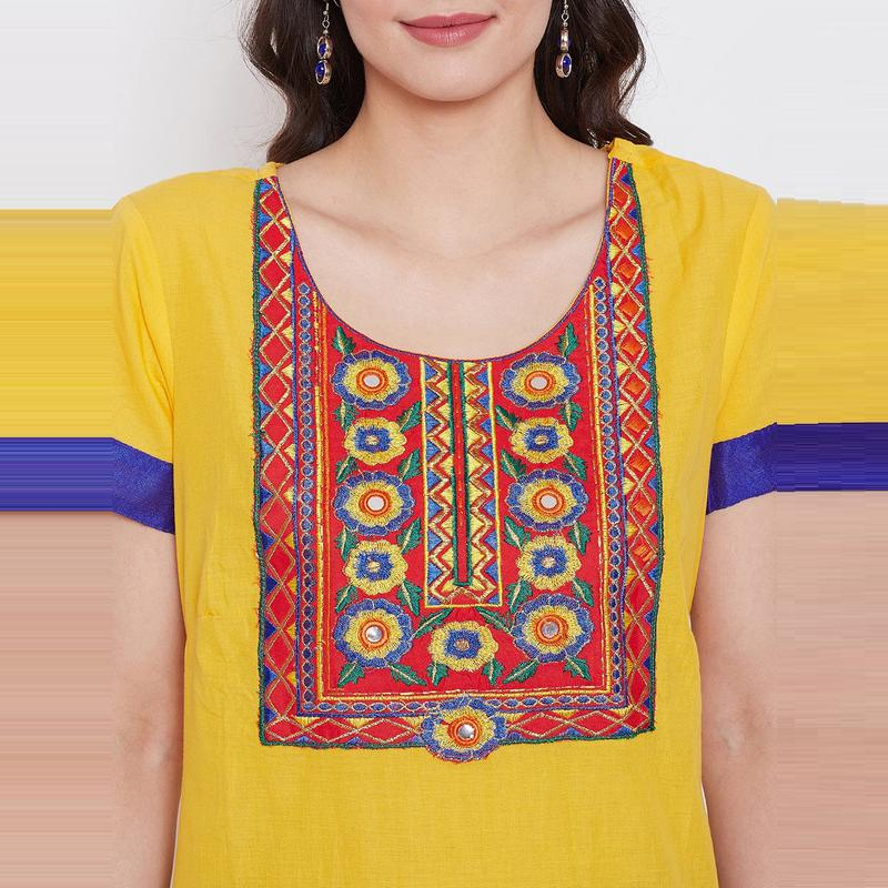 Aask - Yellow Colored Casual Wear Embroidered Cotton Kurti