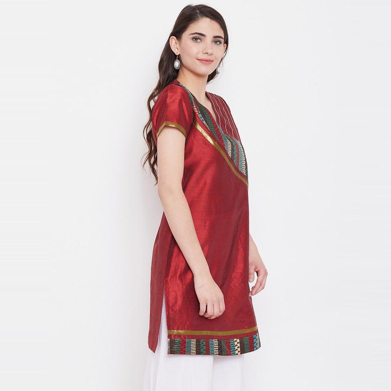 Aask - Maroon Colored Casual Wear Embroidered Dupion Kurti