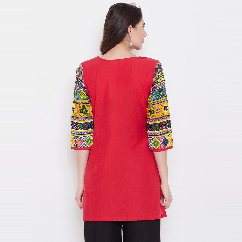 Aask - Red Colored Casual Wear Embroidered Cotton Kurti
