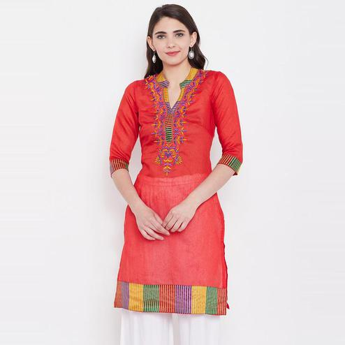 Aask - Red Colored Casual Wear Embroidered Dupion Kurti