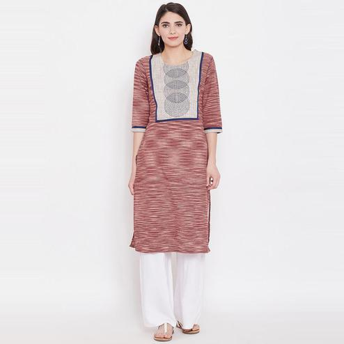 Aask - Brown Colored Casual Wear Khadi Cotton Kurti