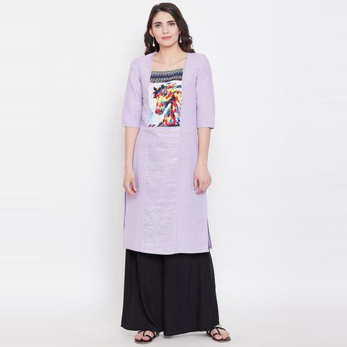 Aask - Purple Colored Casual Wear Embroidered Khadi Cotton Kurti