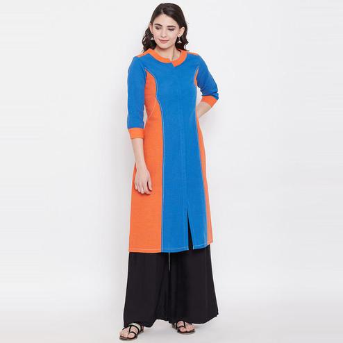 Aask - Blue And Orange Colored Casual Wear Khadi Cotton Kurti