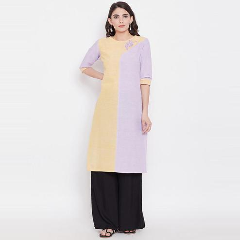 Aask - Yellow And Purple Colored Casual Wear Khadi Cotton Kurti
