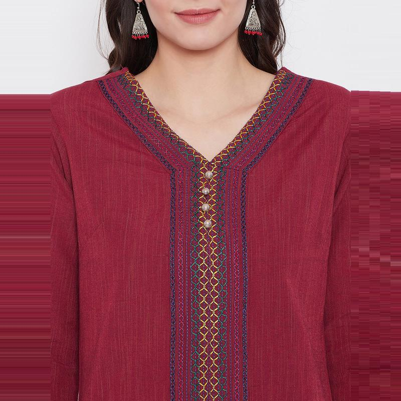 Aask - Maroon Colored Casual Wear Embroidered Khadi Cotton Kurti