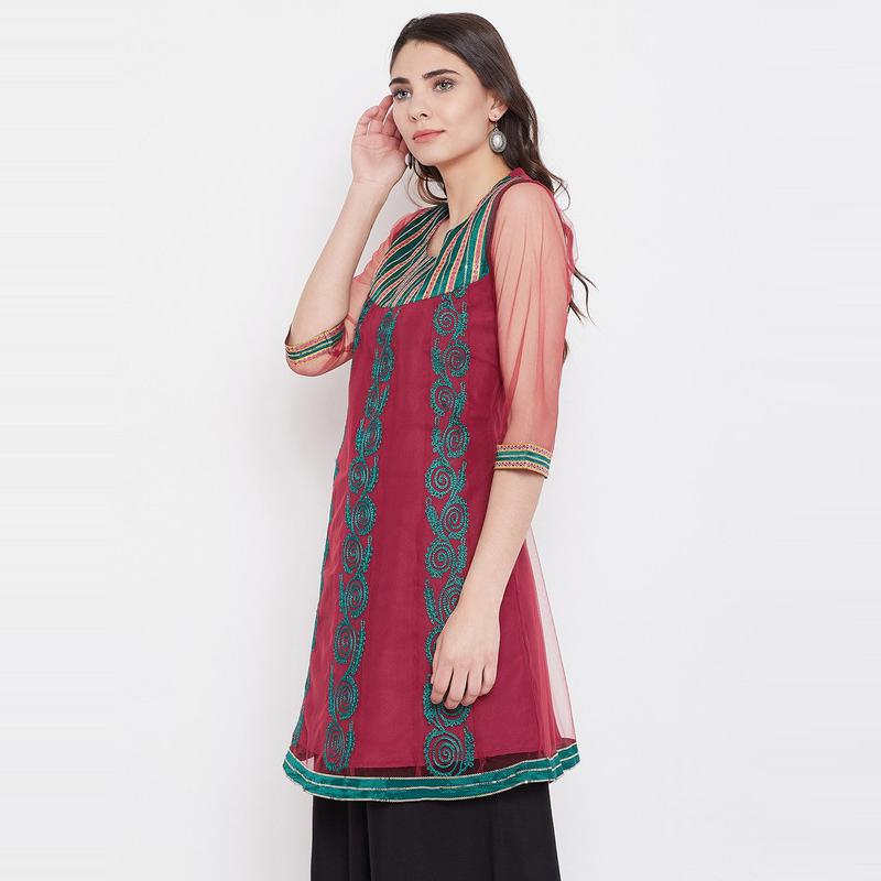 Aask - Maroon Colored Casual Wear Netted A line Kurti