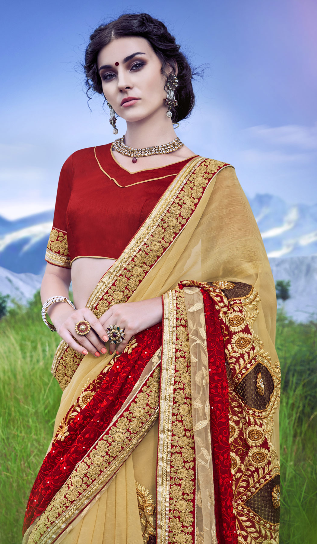 Beautiful Beige - Red Floral Embroided Designer Saree