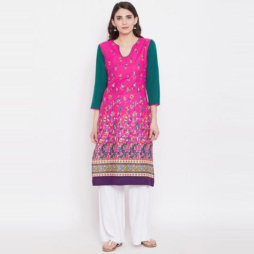 Aask - Pink Colored Casual Wear Floral Printed Cotton Kurti