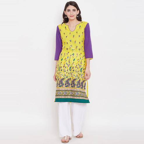 Aask - Yellow Colored Casual Wear Floral Printed Cotton Kurti