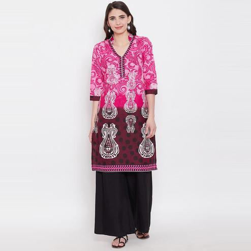 Aask - Pink Colored Casual Wear Printed Cotton Kurti
