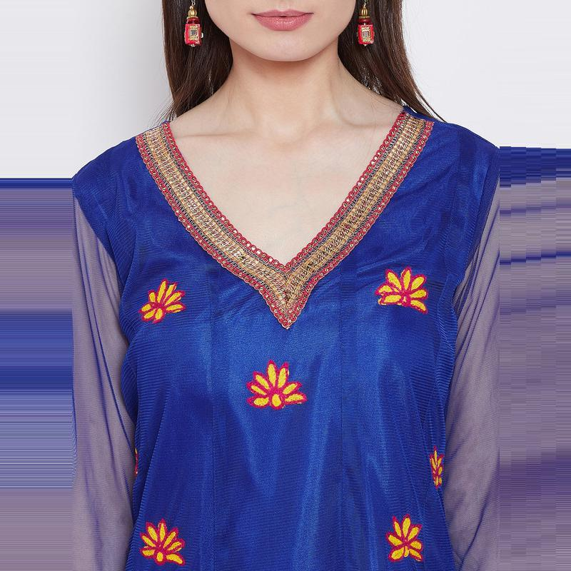 Aask - Blue Colored Casual Wear Embroidered Net Kurti