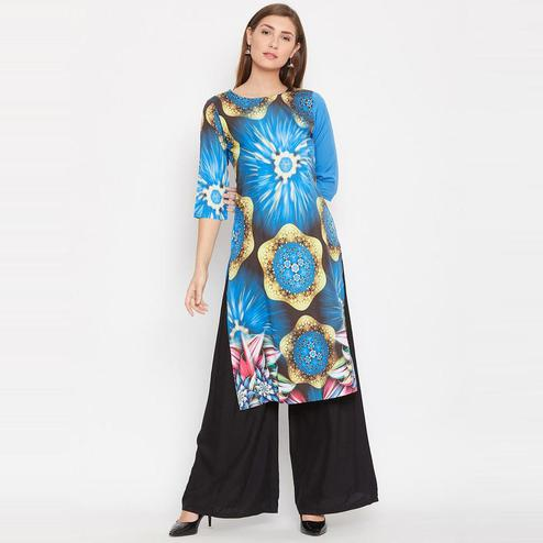Aask - Blue Colored Casual Wear Graphic Printed Crepe Kurti
