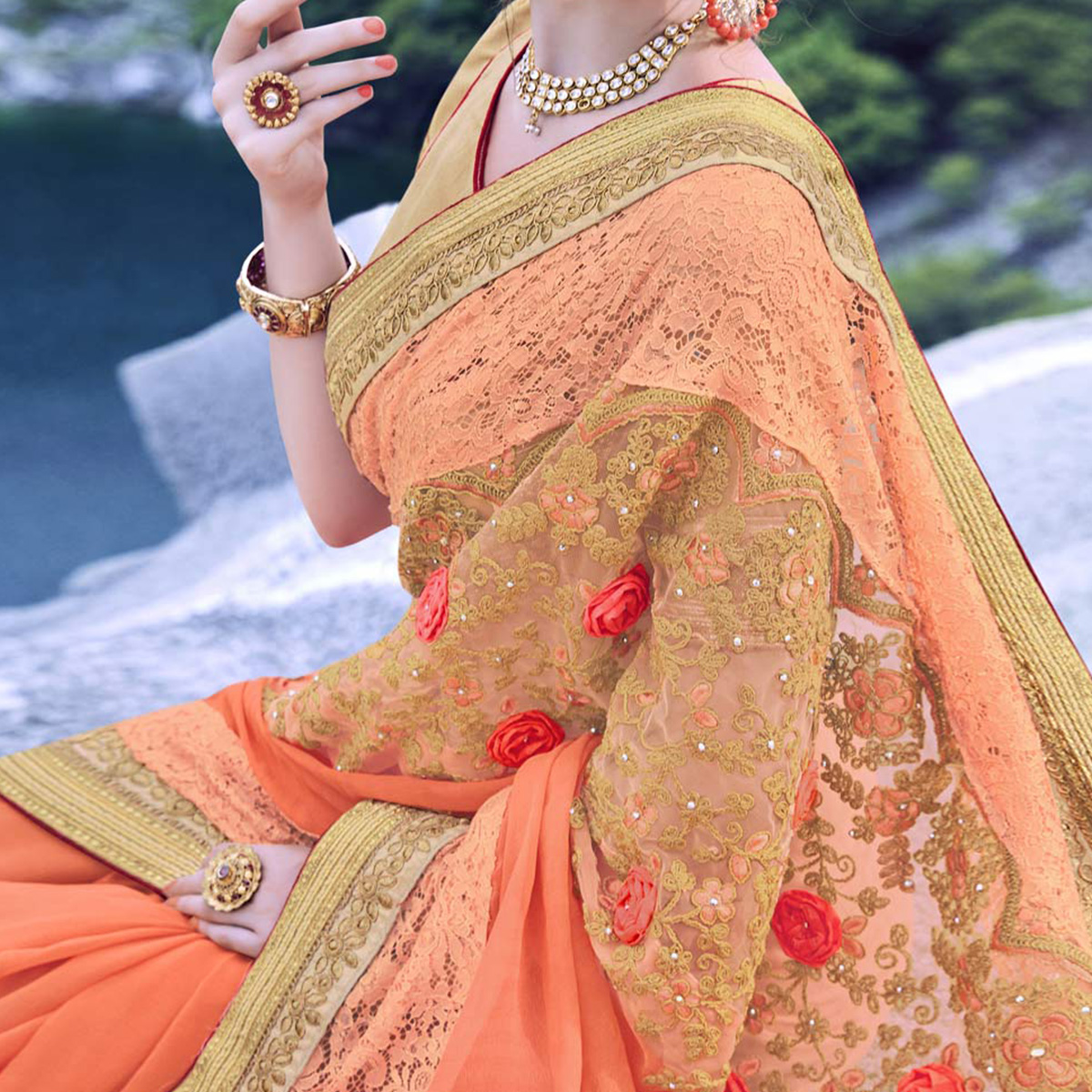 Lovely Light Orange Heavy Embroidered Georgette Saree