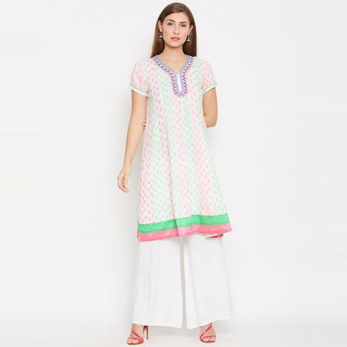 Aask - White Colored Casual Wear Embroidered And Printed Cotton Kurti
