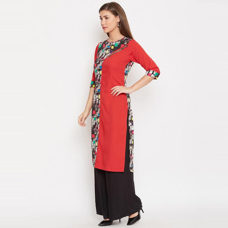 Aask - Red Colored Casual Wear Printed Polyester Kurti