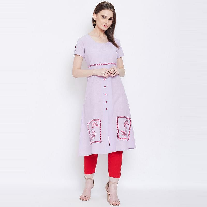 Aask - Pastel Purple Colored Casual Wear Printed Cotton Kurti