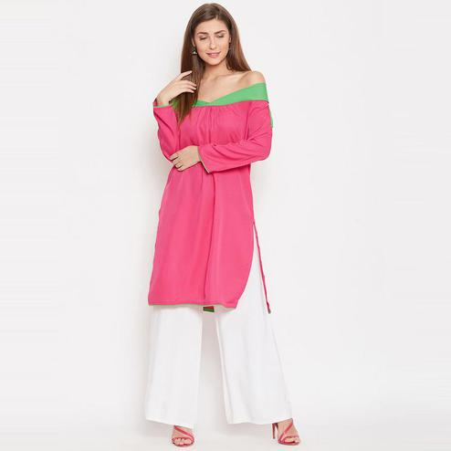 Aask - Pink Colored Casual Wear Plain Crepe Kurti