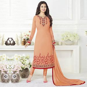 Alluring Light Orange Embroidered Straight Cut Suit