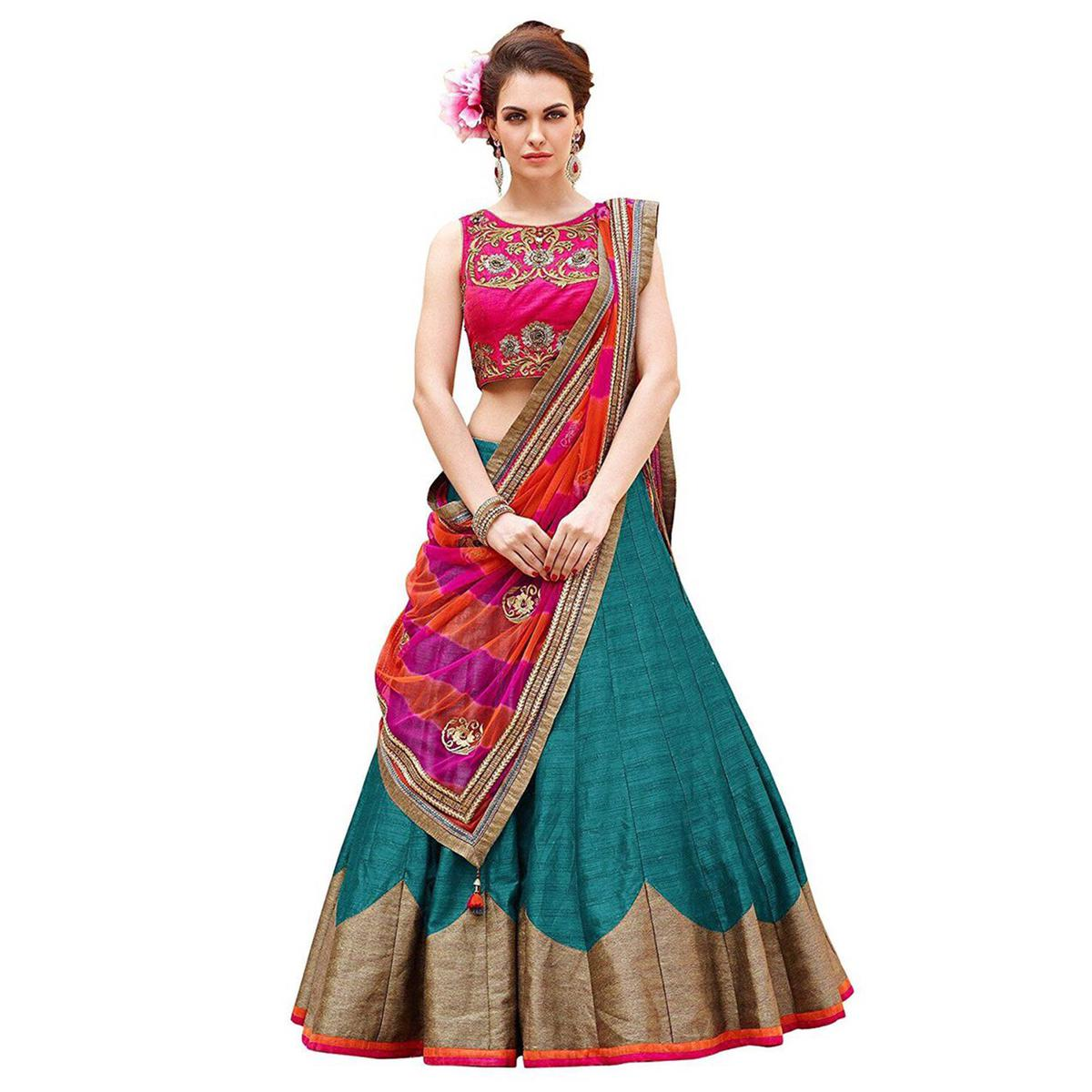 Pink - Rama Green Embroidered Lehenga