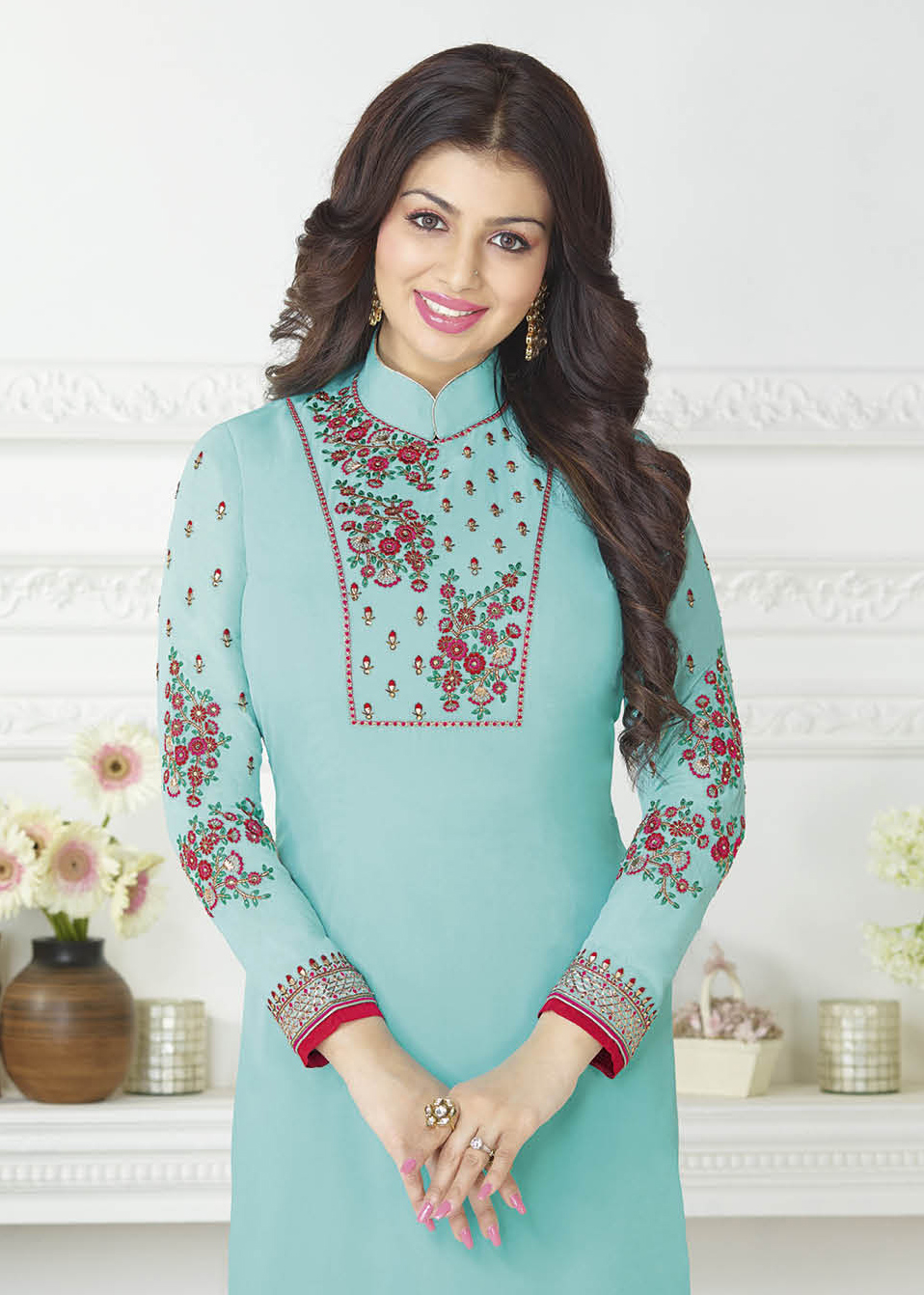 Gorgeous Firozi Embroidered High Neck Suit