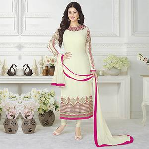 Stunning Cream Embroidered Long Length Suit