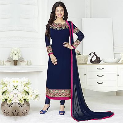 Beautiful Navy Blue Floral Embroidered Partywear Suit