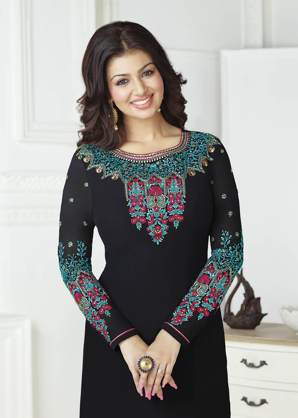 Sizzling Black Georgette Embroidered Partywear Suit