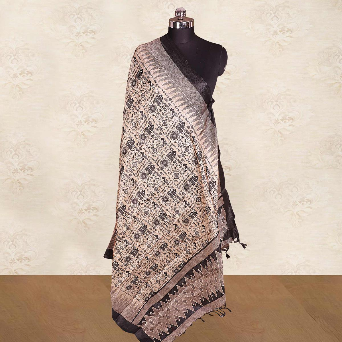 Stunning Cream-Black Colored Casual Wear Printed Cotton Blend Dupatta With Tassels