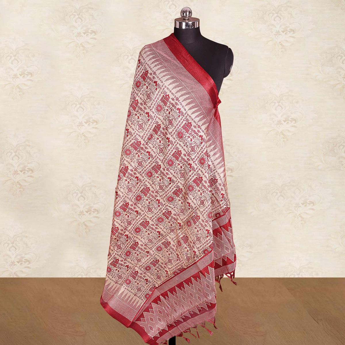 Prominent Cream-Red Colored Casual Wear Printed Cotton Blend Dupatta With Tassels