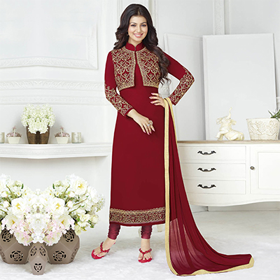 Attractive Maroon Embroidered Jacket Style Suit