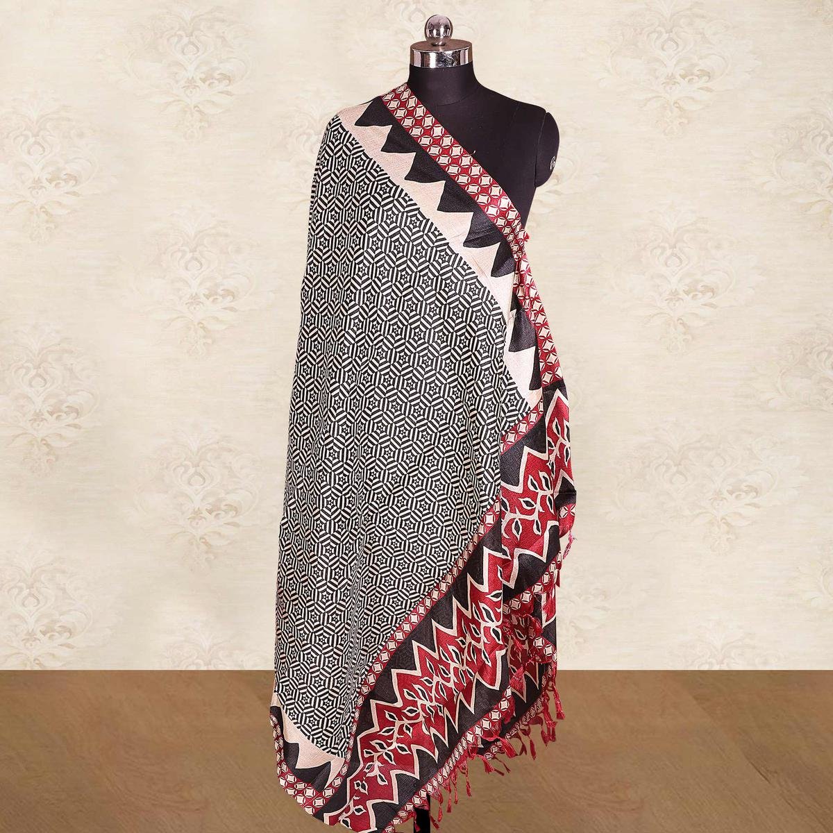 Beautiful Black Colored Casual Wear Printed Cotton Blend Dupatta With Tassels