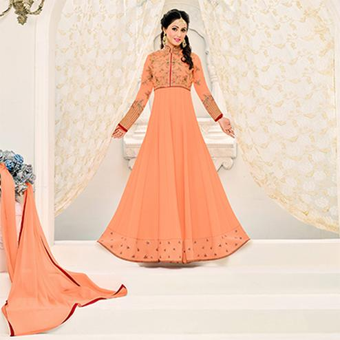 Stunning Light Orange Floral Embroidered Designer Anarkali