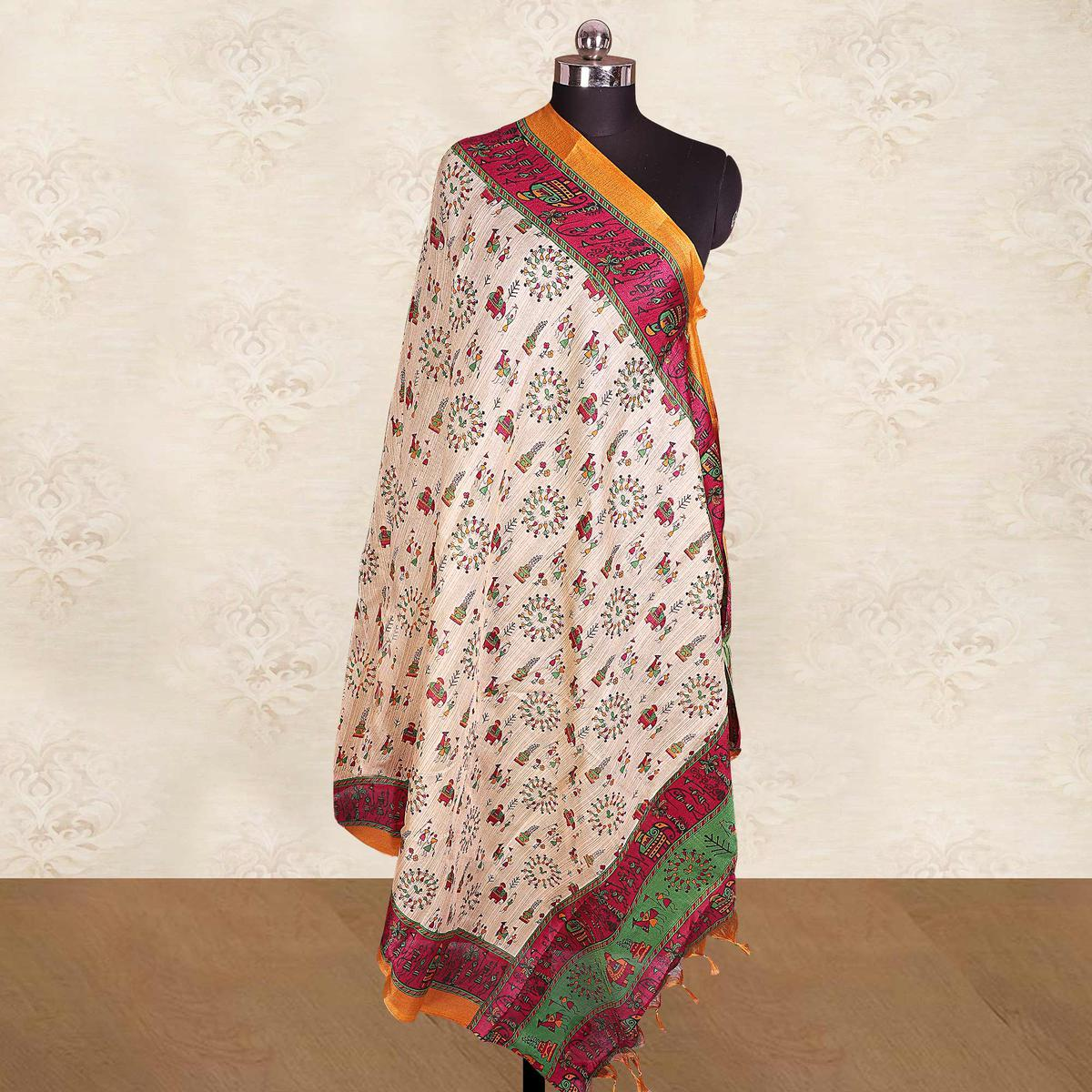 Fantastic Cream-Pink Colored Casual Wear Printed Cotton Blend Dupatta With Tassels