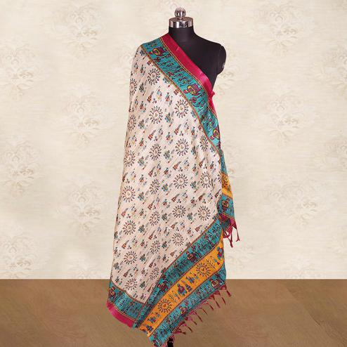 Amazing Cream-Blue Colored Casual Wear Printed Cotton Blend Dupatta With Tassels