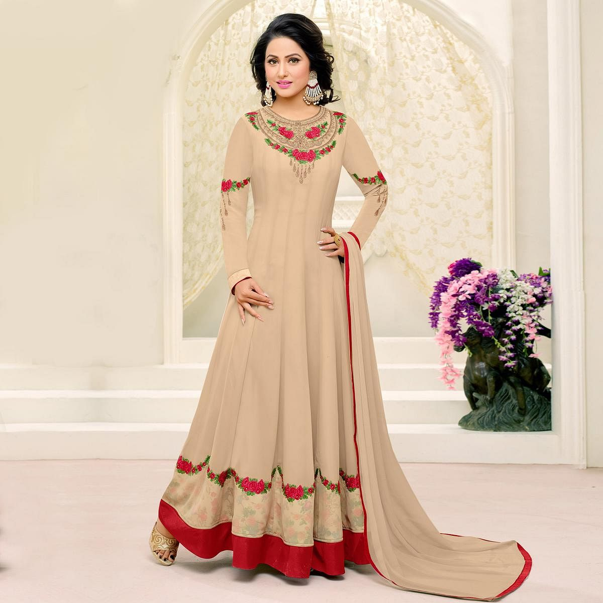Graceful Chiku Color Embroidered Georgette Anarkali Suit