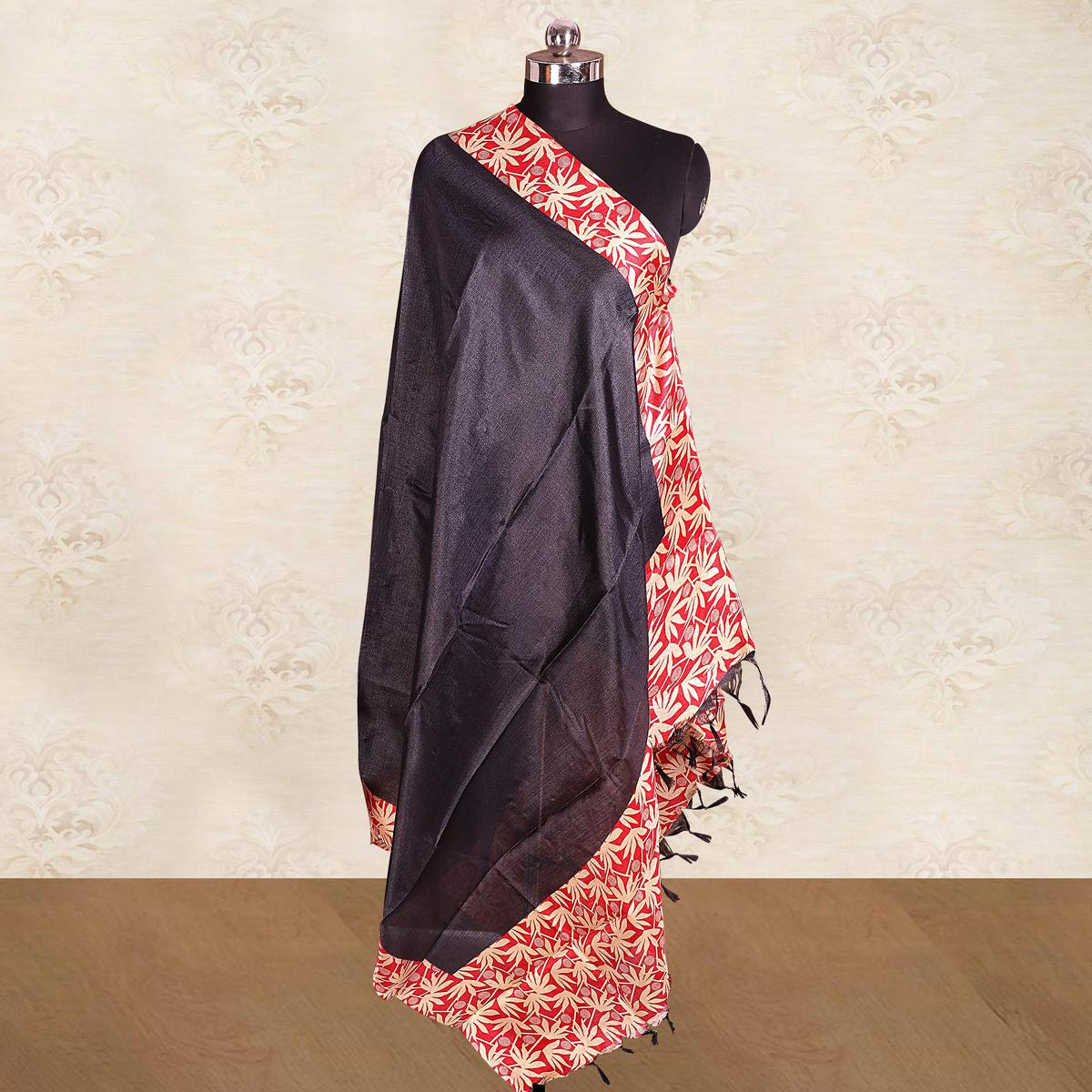Gorgeous Black Colored Casual Wear Printed Cotton Blend Dupatta With Tassels