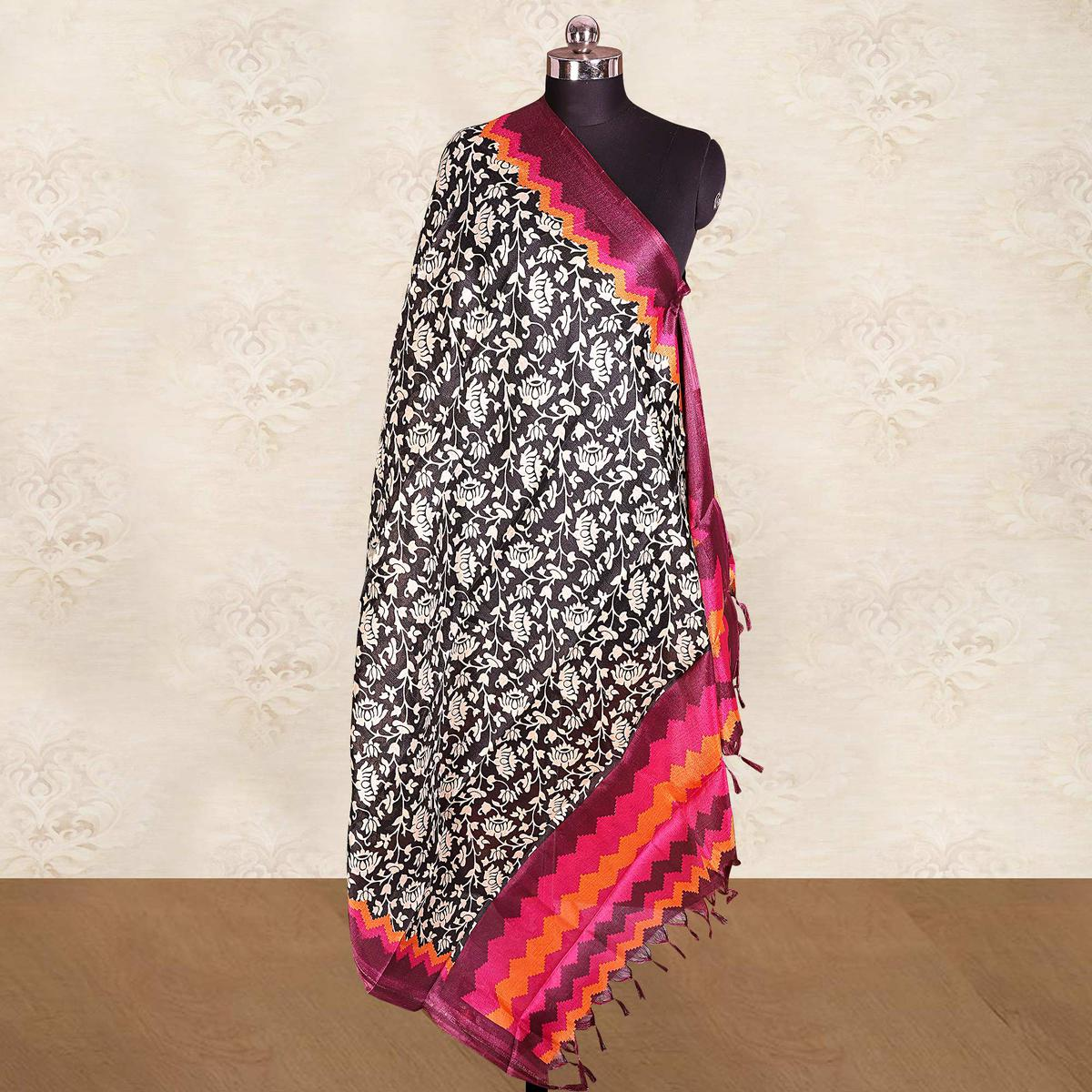 Majesty Black-Pink Colored Casual Wear Printed Cotton Blend Dupatta With Tassels