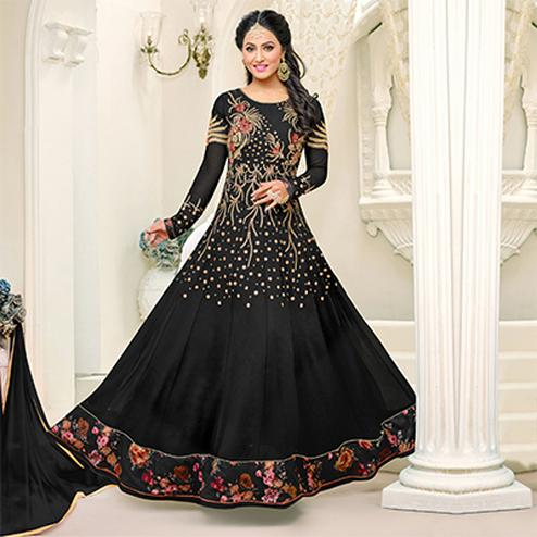 Mesmerising Black Floor Length Anarkali Suit for Wedding Reception