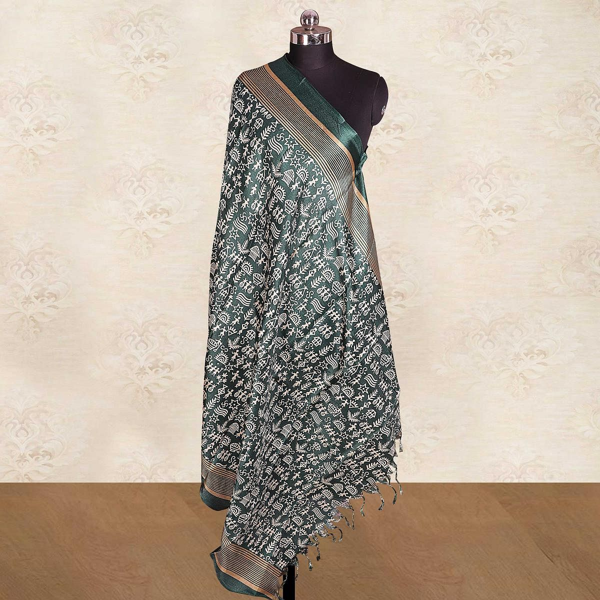 Ethnic Teal Green Colored Casual Wear Printed Cotton Blend Dupatta With Tassels