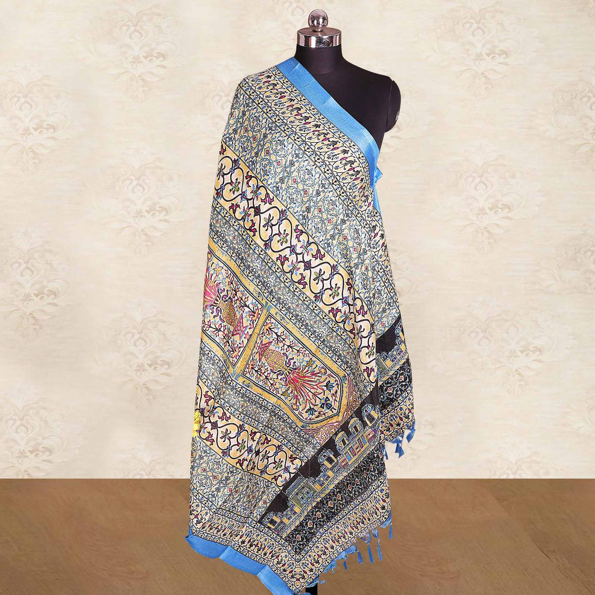 Surpassing Blue Colored Casual Wear Printed Cotton Blend Dupatta With Tassels