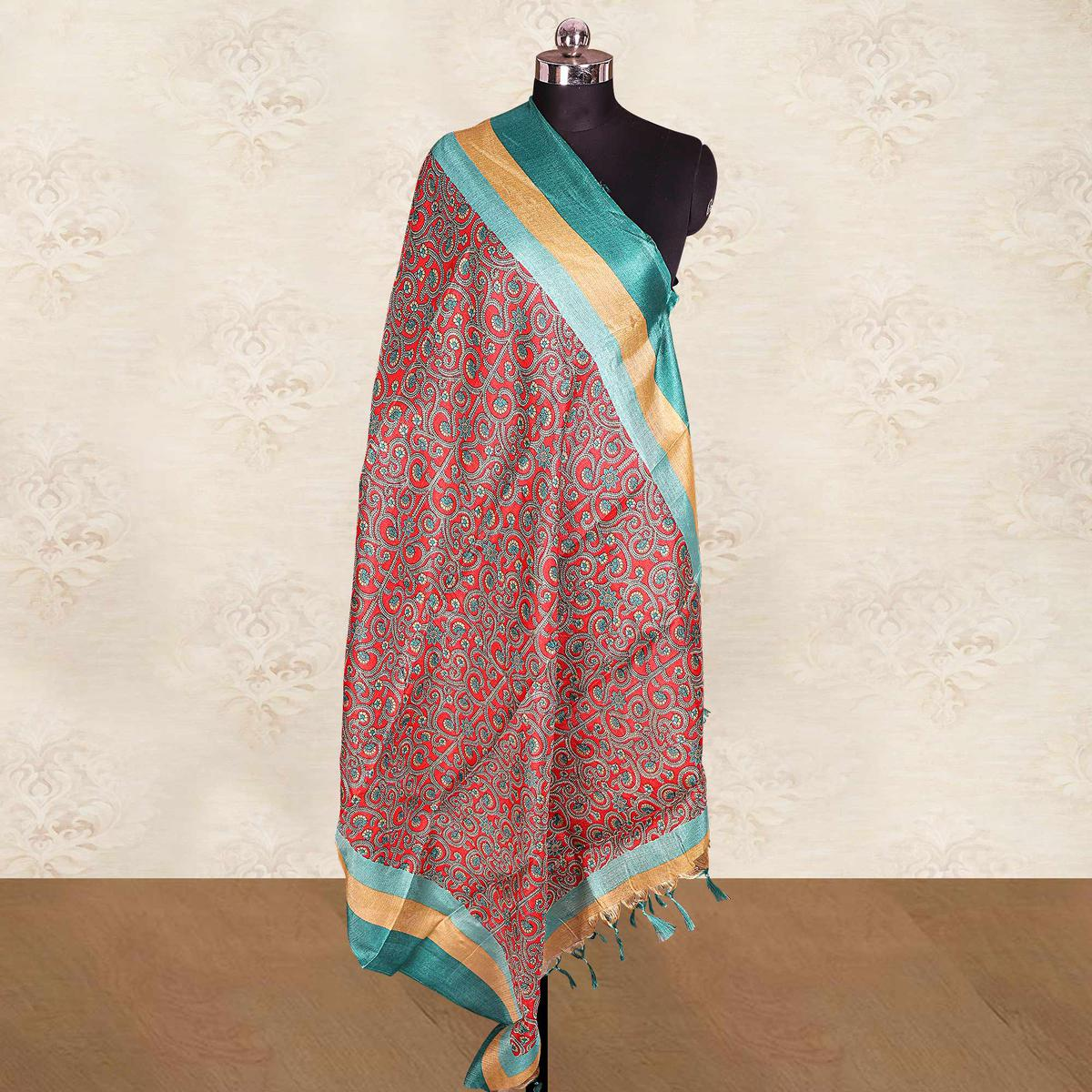Arresting Red Colored Casual Wear Printed Cotton Blend Dupatta With Tassels