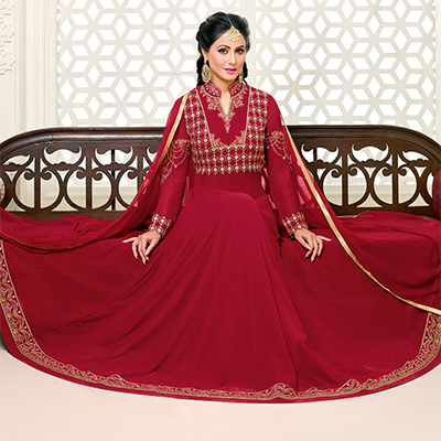 Radiant Maroon Color Floor Length Georgette Anarkali Suit