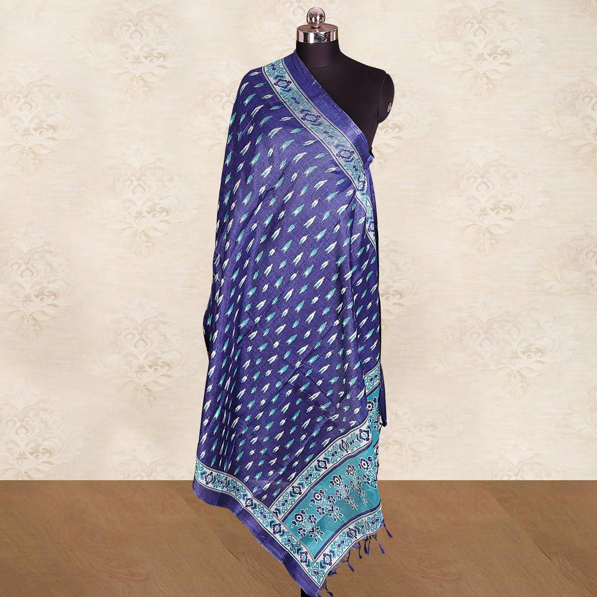 Trendy Navy Blue Colored Casual Wear Printed Cotton Blend Dupatta With Tassels
