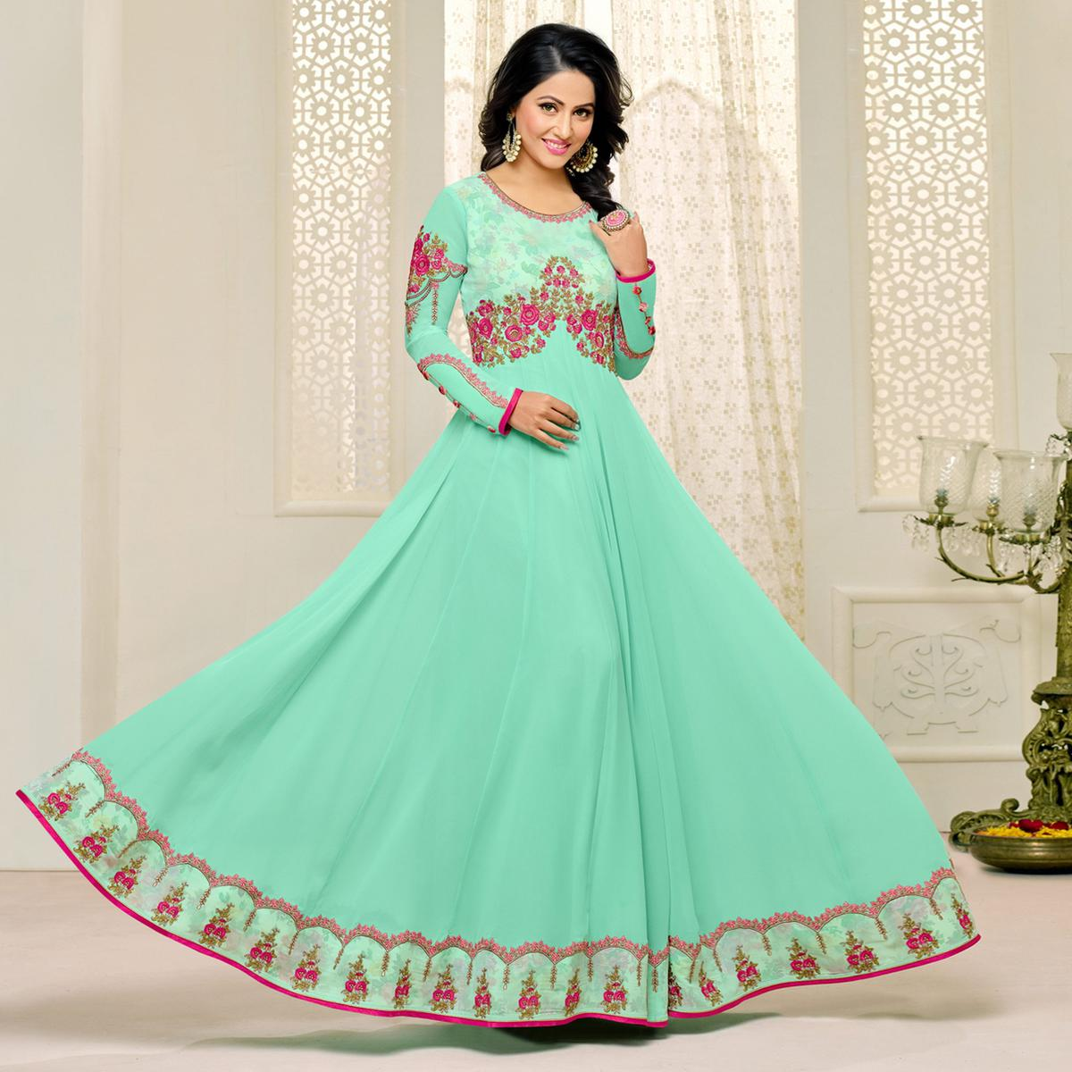 Buy Gorgeous Sea Green Designer Embroidered Georgette Anarkali Suit ...