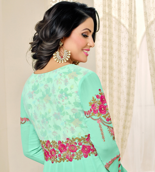 Gorgeous Sea Green Designer Embroidered Georgette Anarkali Suit