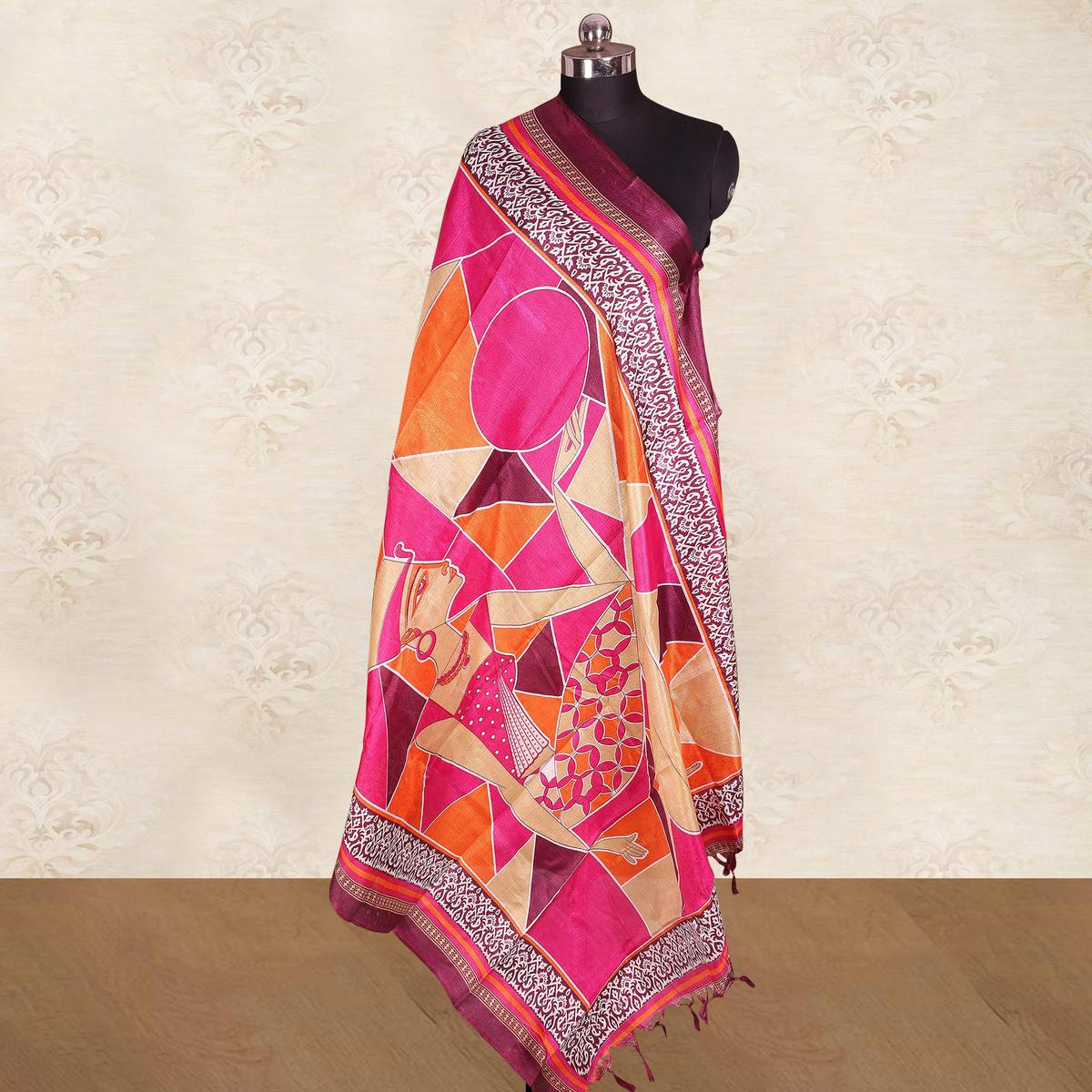 Flattering Pink Colored Casual Wear Printed Cotton Blend Dupatta With Tassels