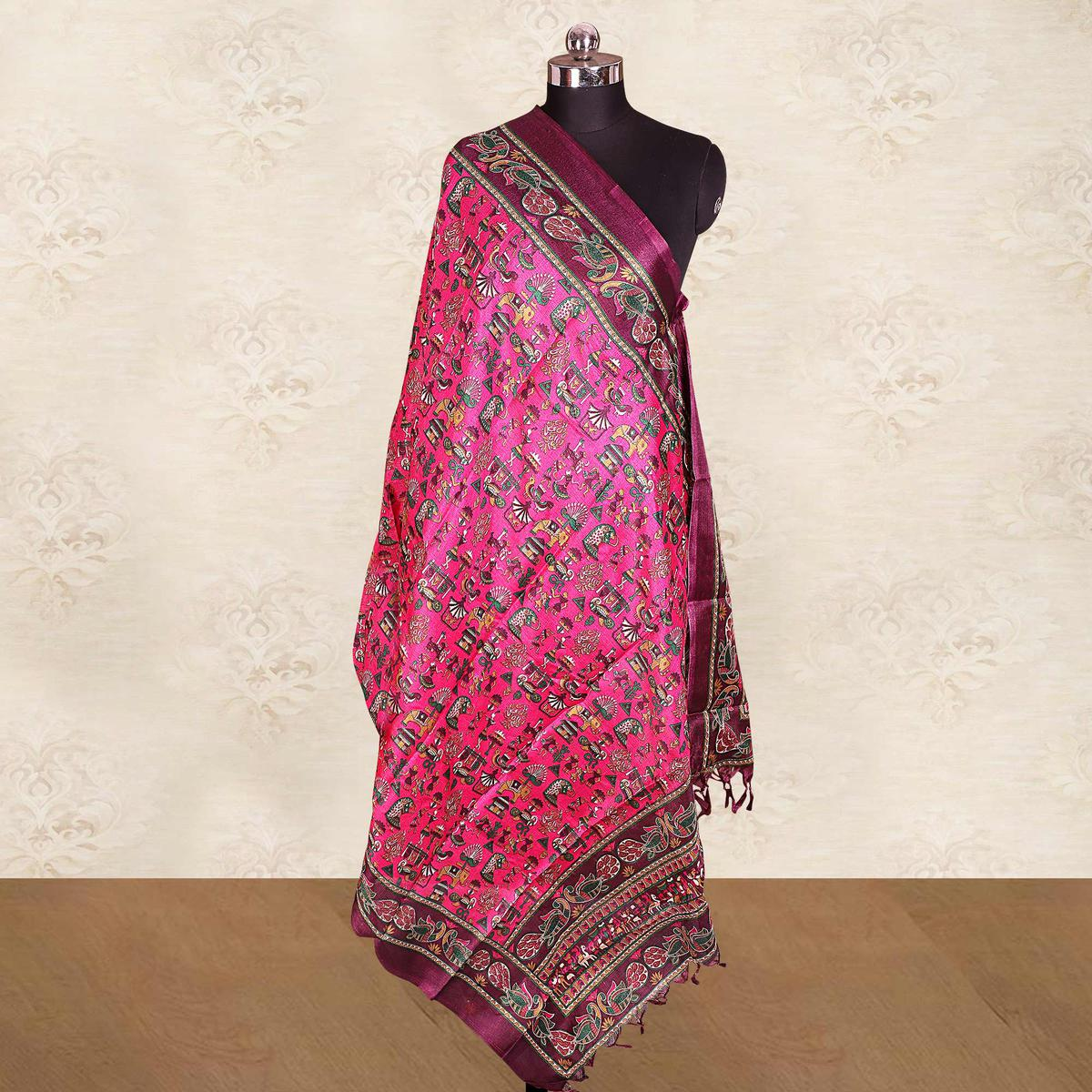 Flirty Pink Colored Casual Wear Printed Cotton Blend Dupatta With Tassels